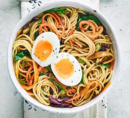 Veg-packed noodle & egg bowls