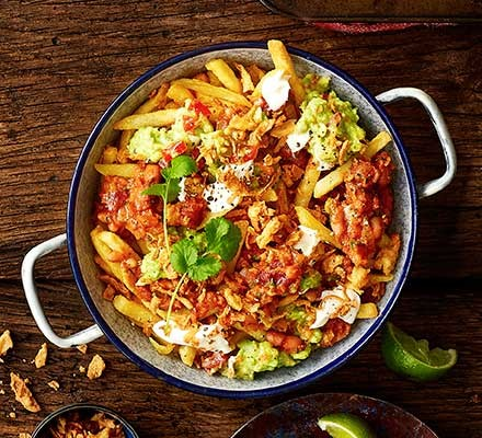 Vegan bean chilli fries served in a dish