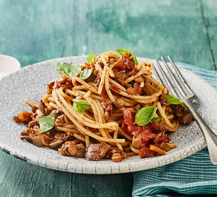 Bolognese on plate with fork