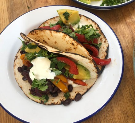 Vegan fajitas served on a plate