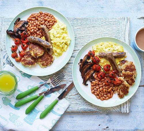 Vegan full english breakfast on two plates