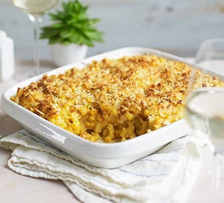 A baking dish serving vegan mac 'n' cheese