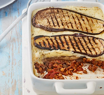 Moussaka with aubergine topping in dish
