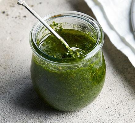 Vegan pesto in a jar