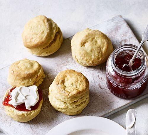 Vegan scones with jam and cream