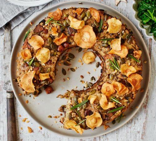 Parsnip, mushroom & barley vegan nut loaf
