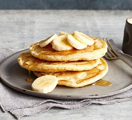 A stack of three vegan pancakes