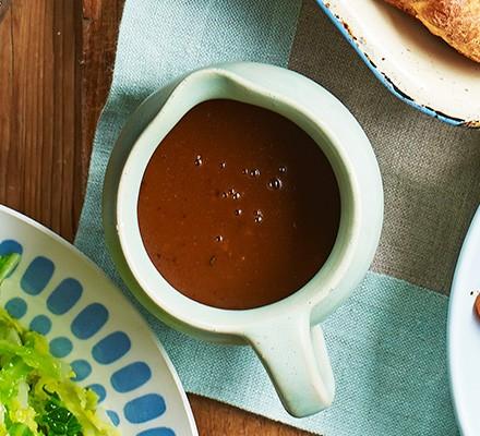 Veggie gravy in a small jug