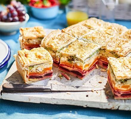 Veggie rainbow picnic pie cut into squares