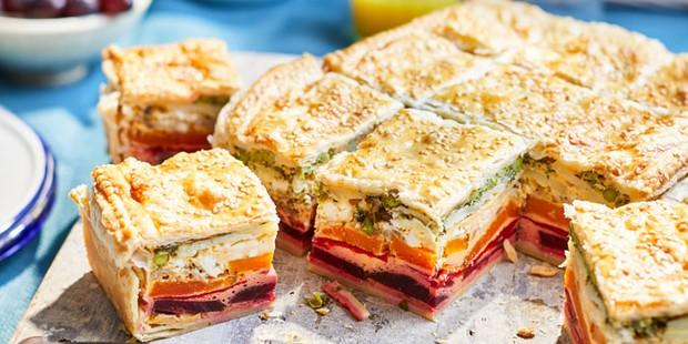 Vegetarian picnic pie cut into square