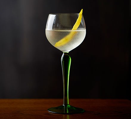 Vesper martini served in a decorative glass