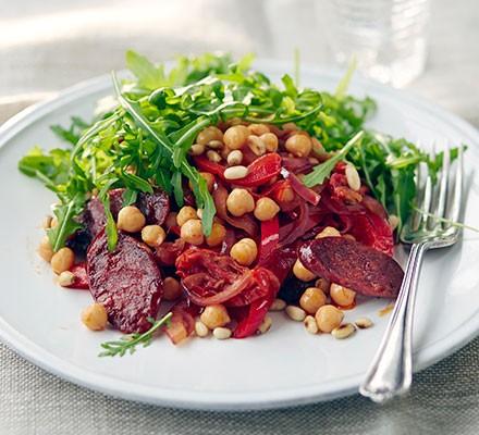 Warm chorizo & chickpea salad