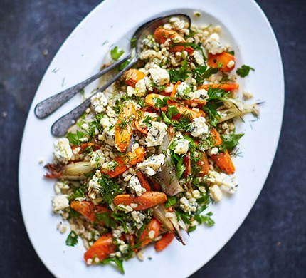 Warm pearl barley & roasted carrot salad with dill vinaigrette