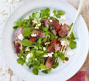 Lamb tagliata with watercress & tomatoes