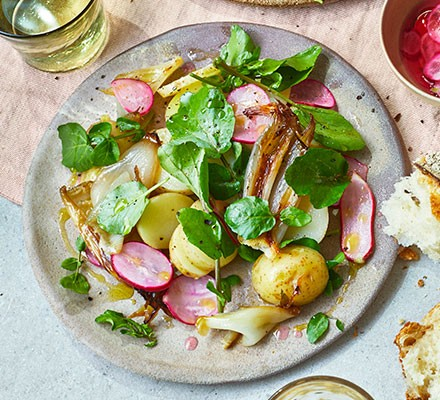 Watercress salad with boiled Jersey Royals, roast shallots & pickled radish