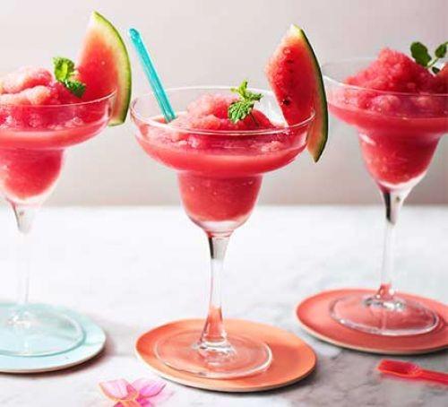 Watermelon slushie in glasses