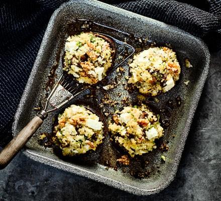 Feta-stuffed mushrooms with mustard slaw