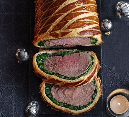 Beef Wellington with spinach & bacon