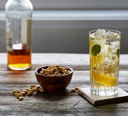 Whisky highball in a tall cocktail glass