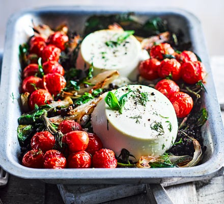 Whole baked ricotta with lentils & roasted cherry tomatoes