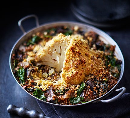 Whole roasted cauliflower with red wine, shallots & wheatberries