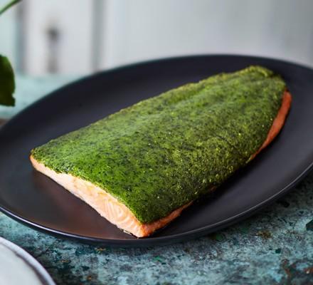 Wild garlic-crusted salmon