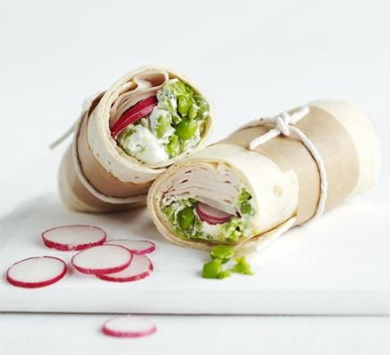 Turkey, pea guacamole & radish wrap