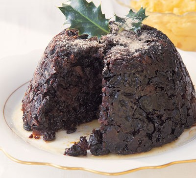 Christmas pudding topped with holly
