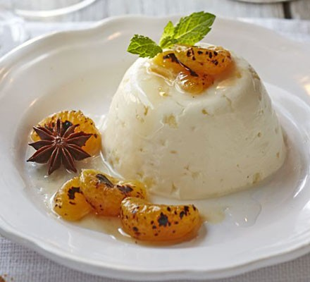 Yogurt & ginger creams with blowtorched satsuma
