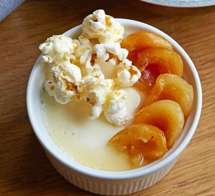 Yogurt panna cotta, hunza apricots & popcorn