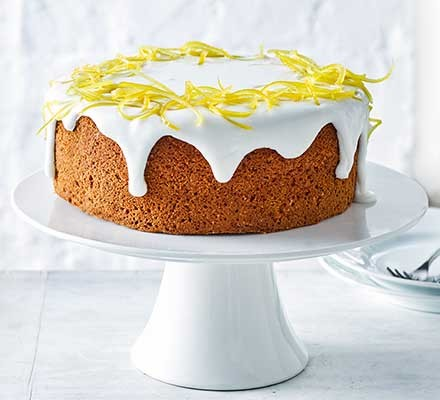 Lemon sponge cake on a cake stand