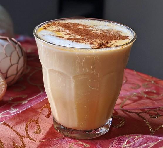 Eggnog latte in a glass