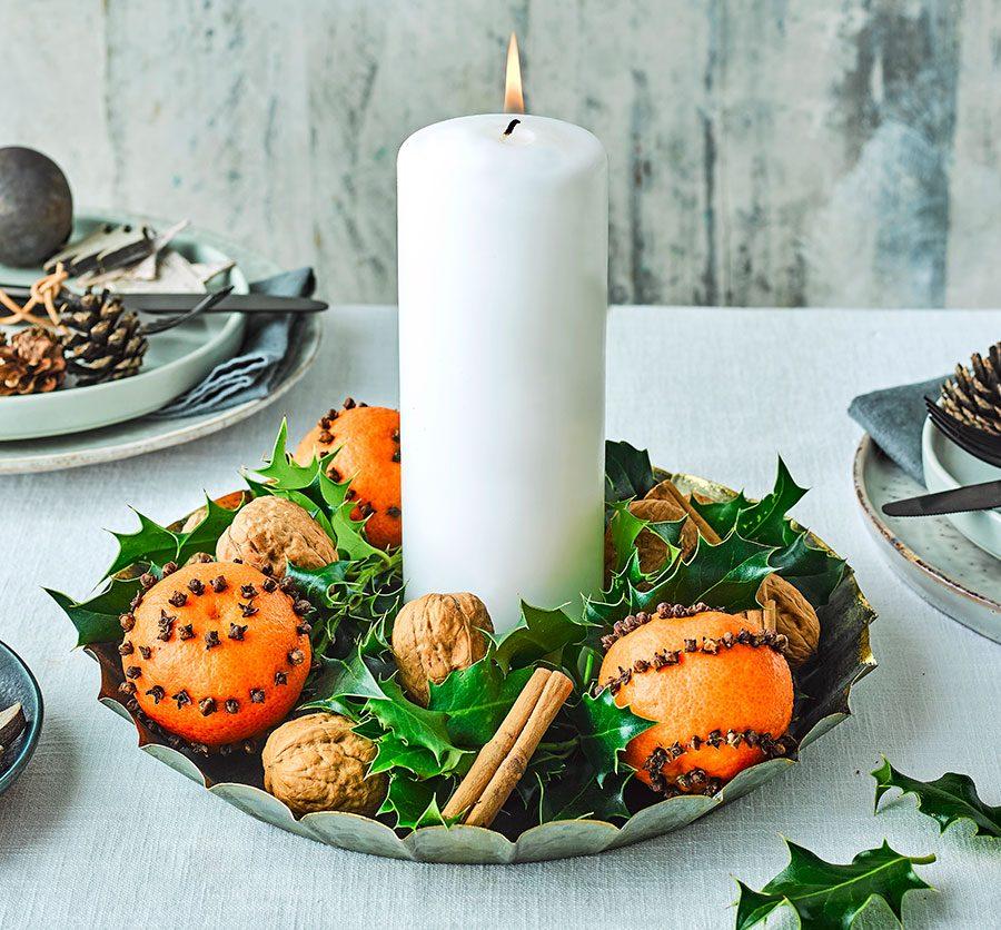 Festive candle centrepiece