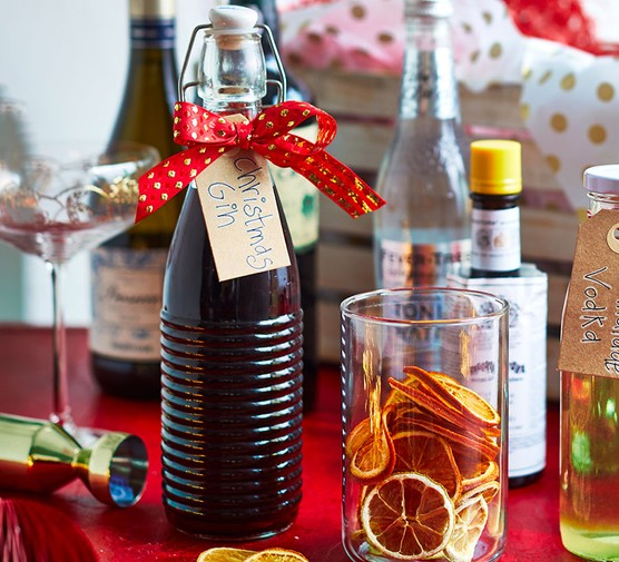 Festive pink gin presented in a bottle with a gift label