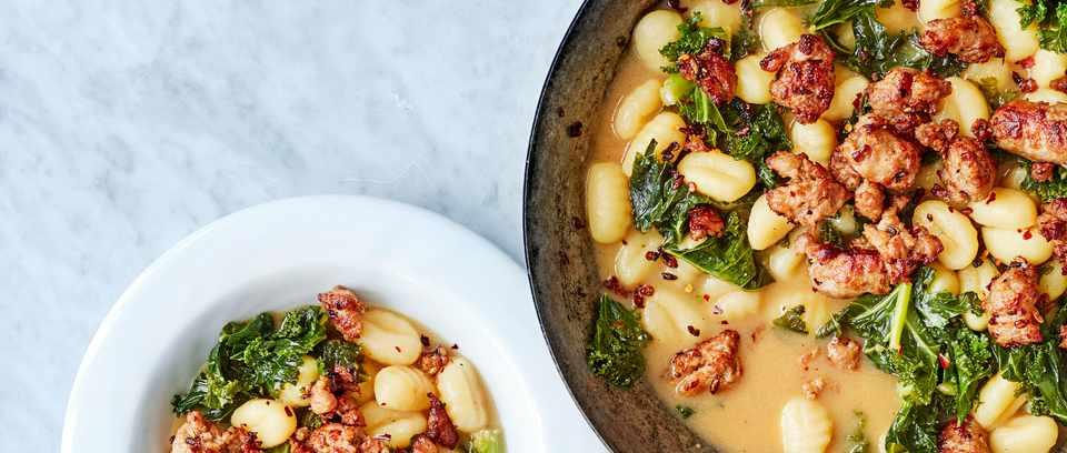 Pan of sausage and kale gnocchi