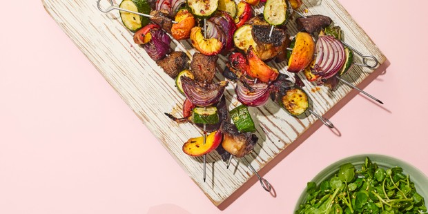 vegan kebabs with avocado dressing