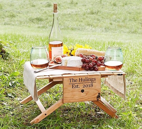 Personalised picnic table wine carrier, best wine gifts