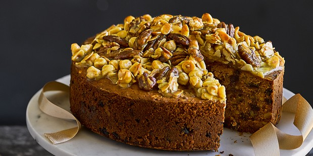 Salted caramel fruitcake with nut topping
