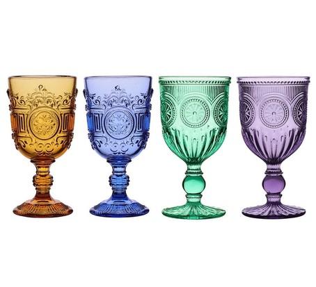 Set Of Four Vintage Embossed Wine Goblets, best wine gifts