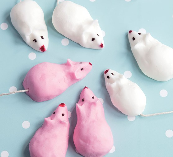 A selection of pink and white sugar mice