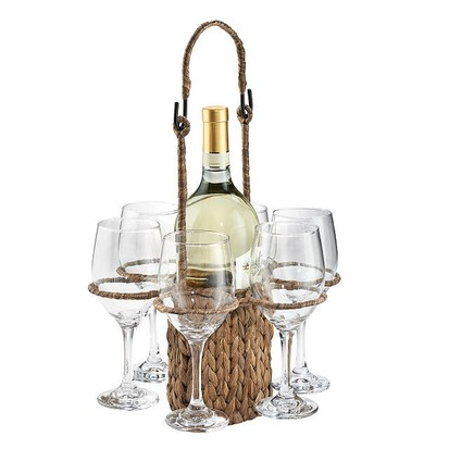 Woven wine tote basket and glass holder, best wine gifts