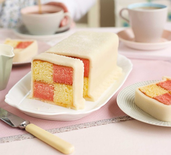 Traditional Battenberg cake with slice cut out