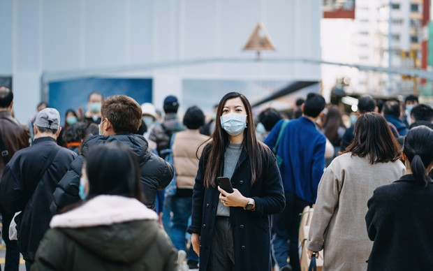 Woman with protective face mask
