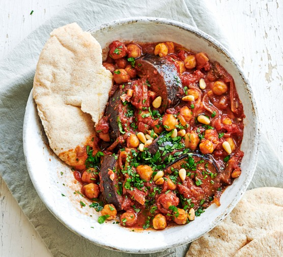 Bowl of aubergine, chickpea and veg stew