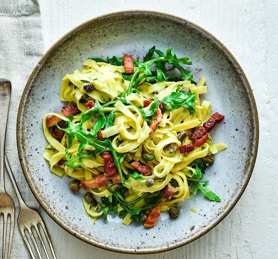 Bacon, courgette & caper one-pot pasta
