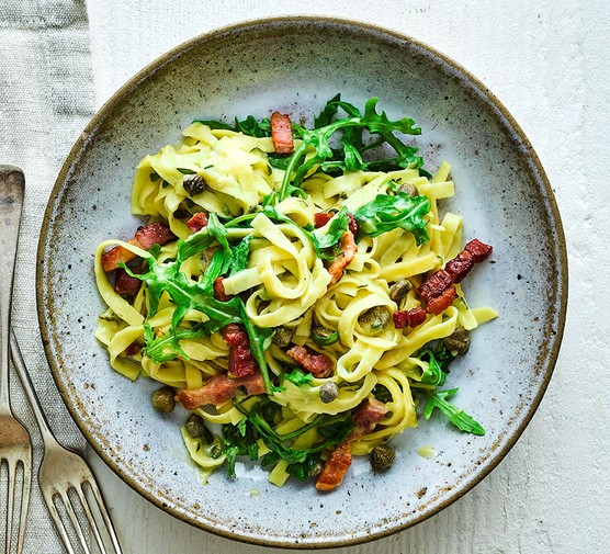 Bacon, courgette & caper one-pot pasta