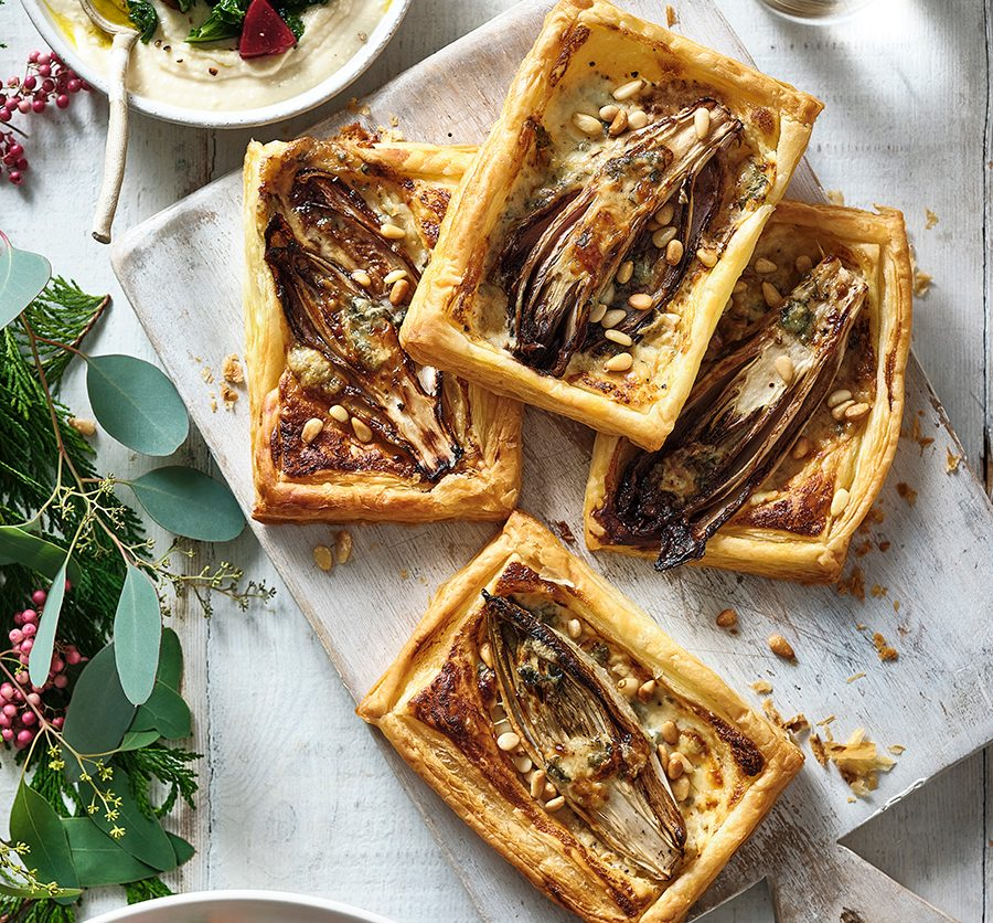 Balsamic chicory, pine nut & blue cheese tartlets