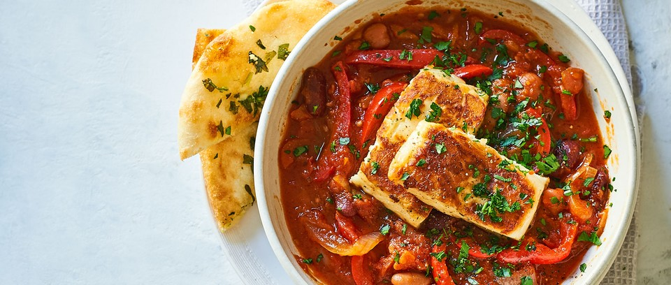 Halloumi and bean stew in bowl