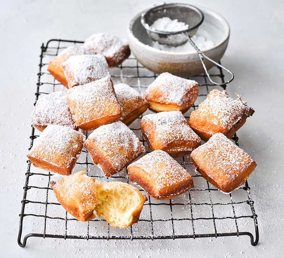 Beignets on a wire rack