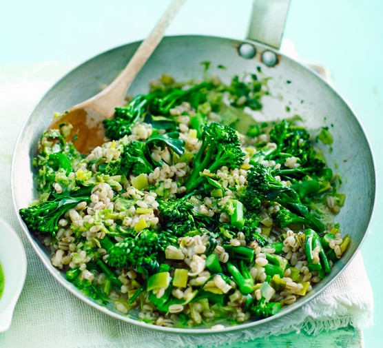 Broccoli and barley risotto in a stir-fries pan